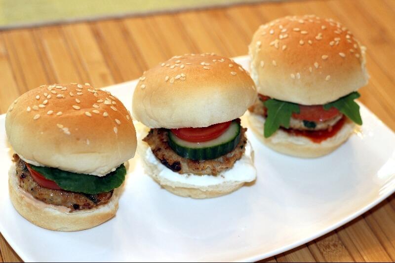 Trio de mini hamburger au poulet