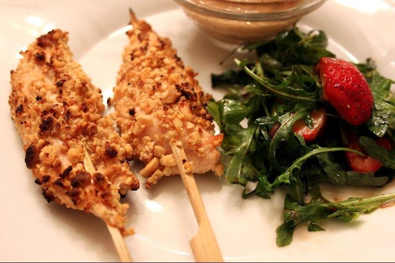 Brochettes de poulet à l'arachide