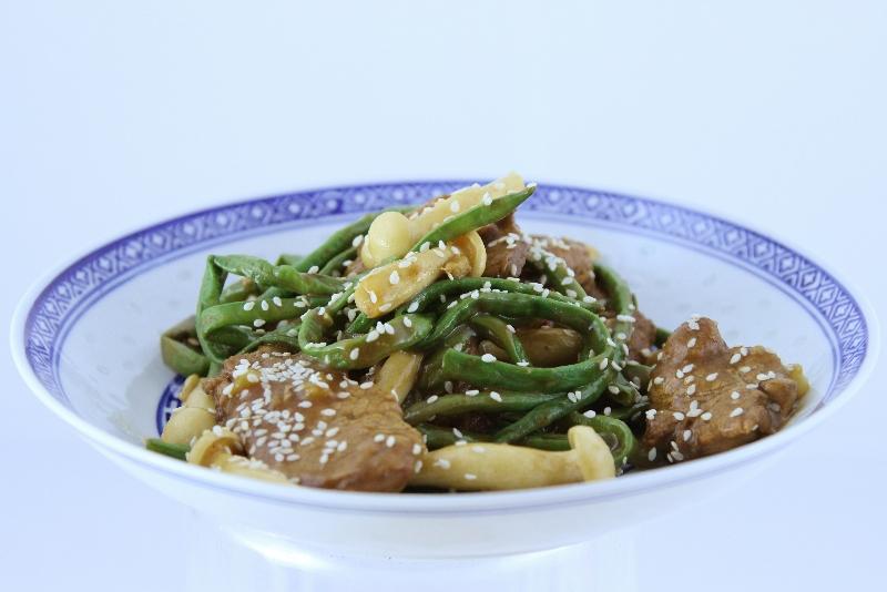 porc ou boeuf aux haricots longs a la chinoise