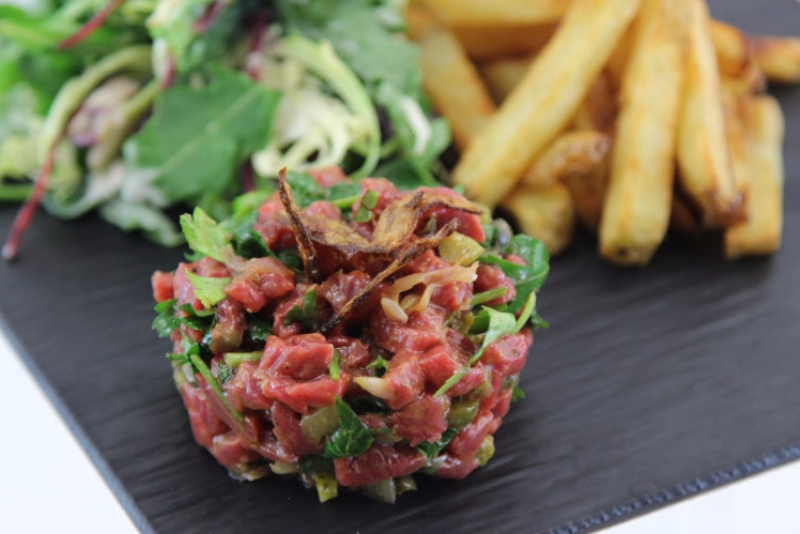 bison tartar with candied shallots